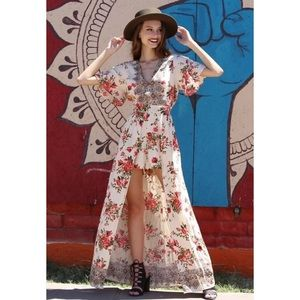 Angie   Wanderlust Floral Maxi Romper